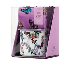 butterfly gifts butterfly enamel mug with socks aroma home uk