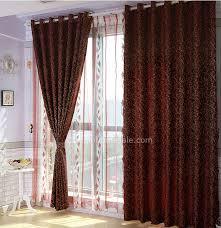 Side Window Curtains Dark Red Geometrical Thermal Bedroom Side Window Curtains