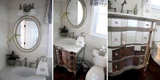 Vanity Powder Room Remodelaholic Updated Powder Room With Fancy Mirrored Vanity