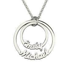 Mother S Necklace With Names Online Shop Two Stacked Discs Name Necklace Personalized 2 Circle