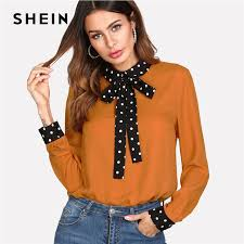 blouses with bows at neck shein polka dot tie neck bow cuff blouse patchwork orange