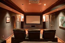 Simple Home Theater Design Concepts by Refined Basement Bar And Home Theater With Dark Ambiance Design
