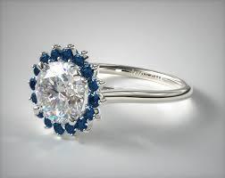 sapphire halo engagement rings blue sapphire pave sunburst engagement ring 14k white gold