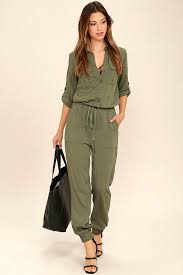 green jumpsuit cool olive green jumpsuit three quarter sleeve jumpsuit