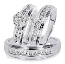 3 4 ct t w trio matching wedding ring set 10k white gold - 3 8 Carat T W Trio Matching Wedding Ring Set 14k Yellow Gold