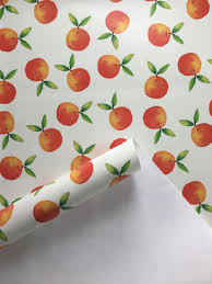Peel Stick Wallpaper Removable Wallpaper Clementine Wallpaper Fruit Wallpaper