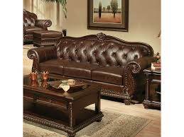 cherry brown leather sofa acme furniture anondale 15030 traditional cherry top grain leather