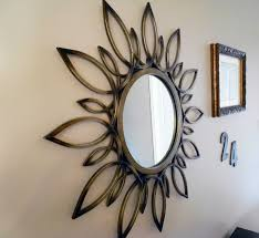 decorating bronze silver starburst mirror for apartment wall decor
