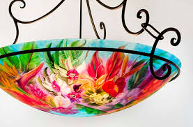 Tropical Chandelier Lighting Reverse Hand Painted Glass Chandeliers And Tropical Art Jenny