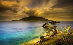 nature landscape philippines volcano beach island clouds