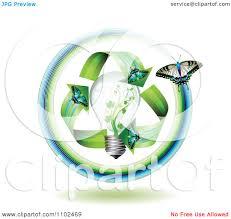 clipart green energy butterfly arrows around a light bulb
