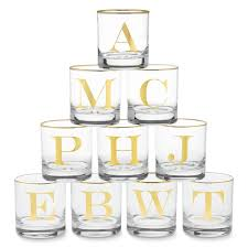 gold monogram williams sonoma gold monogram fashioned glasses