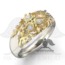 white stone rings images Zora white stone ring two tone michael m jewelry jpg