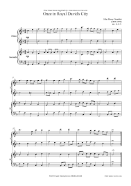once in royal davids city piano duet sheet by