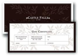 dinner gift cards castle falls gift certificates