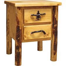 Rustic Pine Nightstand Rocky Mountain Pine Two Drawer Nightstand Colorado Pine Log
