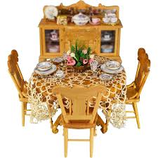 Dollhouse Dining Room Furniture by Dollhouse Miniature 6 Pc Oak Dining Room Furniture Set By