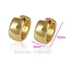 gold huggie earrings 24k plain yellow gold filled gf small solid smooth hoop huggie