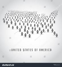 map united states made crowd people stock vector 247898722