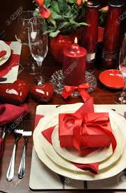 Romantic Table Settings Red Valentine Romantic Dinner For Two Table Setting With Gift