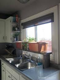 Kitchen Sink Shelves - pallet wood over the sink window shelf kitchen update 5 stow u0026tellu