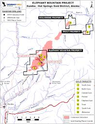 Gold Line Map Endurance Gold Corporation Elephant Mountain Gold Project