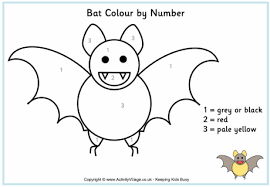 coloring page of a bat bat colour by number 0 gif