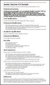 Sample For Teacher Resume by Arabic Teacher Cv Sample Myperfectcv