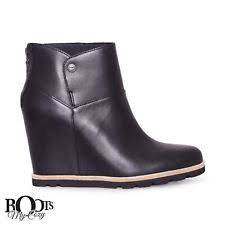 s ugg australia black emalie boots ugg australia w emalie 1005286 s black leather wedge ankle