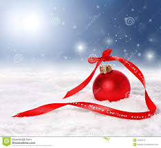 background with bauble and merry ribbon