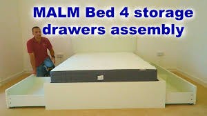 ikea malm bed frame assembly with 4 storage boxes white luröy pp