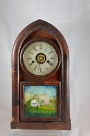Mantel Clocks Antique Hand Painted Glass Wooden Antique Mantel Clock Maker Unknown