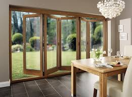 Exterior Folding Patio Doors Kitchen Bi Fold Patio Door With Black Aluminum Frame For Country