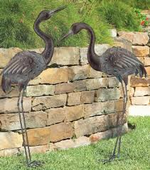 bronze crane pair metal garden statues mystical bird yard