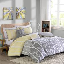 Grey Double Duvet Set Bedroom Pixelate Grey And Yellow Patterned Jacquard Double Duvet