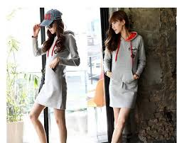 fashion lady long hoodie mini dress jumper sweatshirt casual