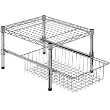 Stackable Wire Shelves by Cabinet Shelf Organizers And Storage Bins Organize It
