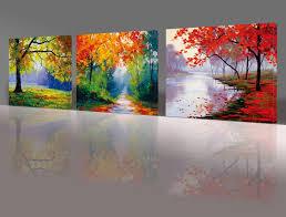 Bedroom Wall Panels Uk Nuolan Art Framed Ready To Hang 3 Panels Modern Landscape Canvas