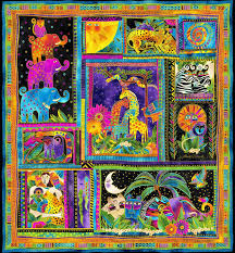 Laurel Burch Socks Mythical Jungle Animals Panel Laurel Burch 10 Squares Fabric 22 X