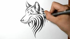 how to draw a wolf dog tribal tattoo design style youtube