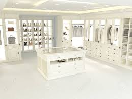an american luxury walkin closet with many space 3d rendering