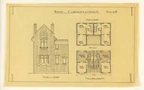 drawing rendering of elevation and floor plan of a two family