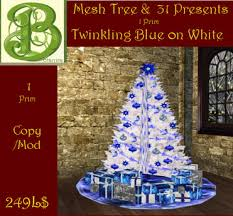 second marketplace mesh blue ornaments on white christmastree