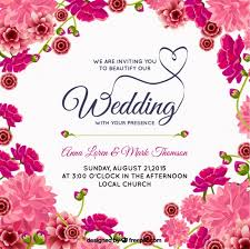 pink floral wedding invitation vector free