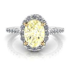 oval engagement ring with halo fancy light yellow oval halo engagement ring