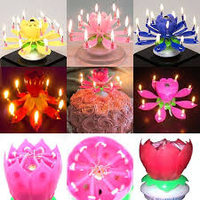 cool birthday candles aliexpress buy amazing musical lotus rotating happy
