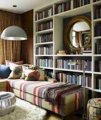 small home library design with modular sofa and cushions and
