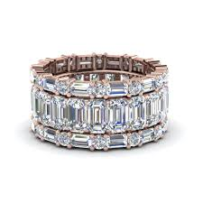 stackable diamond rings emerald cut eternity band with matching baguette and in 14k