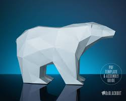 polar bear papercraft low poly polar bear bear decor diy polar