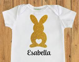 personalized easter easter bunny with heart bodysuit personalized easter shirt baby